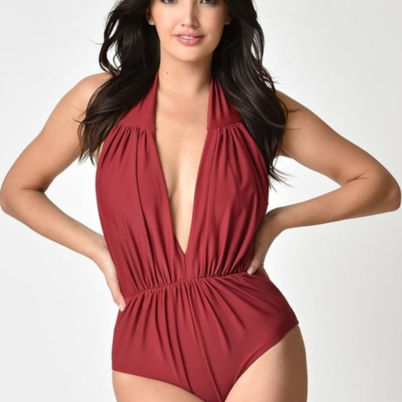 6081a41858ea3 Burgundy Red Halter Shirred One Piece Swimsuit. M_5ba431eb819e904d7f19ae1f.  Other Swims you may like. Unique Vintage Halter Shirred Derek Swimsuit